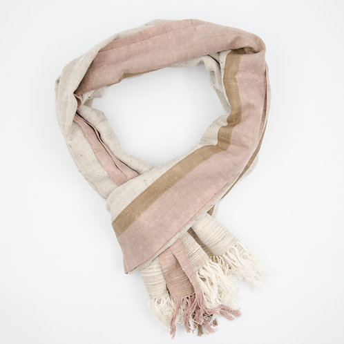 Silk scarf cir. 70x200cm. Handwoven loom and Handmade. Vertical stripe. Lavender + Cream