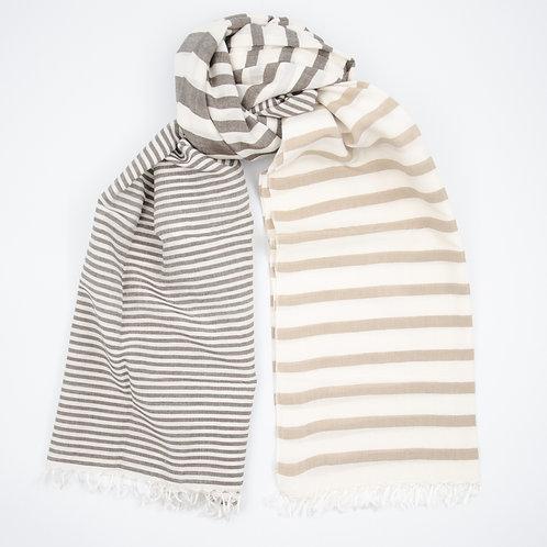 Silk scarf for men or women (unisex). Timeless elegant. 3 stripes. Brown