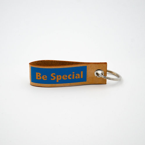 ''Be Special'' Keychain made of leather circa.8x2,5cm. Made in Berlin.
