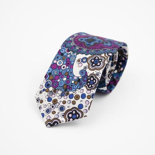 Krawatten für Herren aus Baumwolle.Handgefertigte. Paisley. Dunkel Blau+Lavender