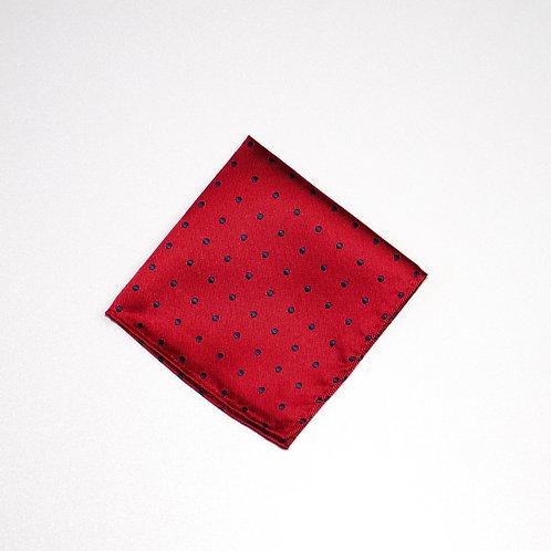 Pocket square made of jacquard silk cir.25x25cm. Dots. Red
