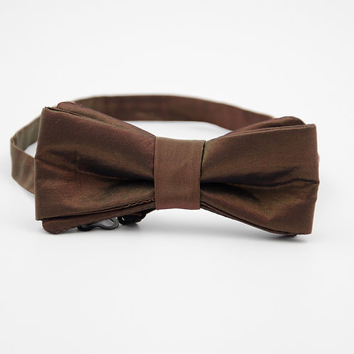 Bowtie for men approx. 6x12cm. Adjustable and pre-tied. Brown +metallic