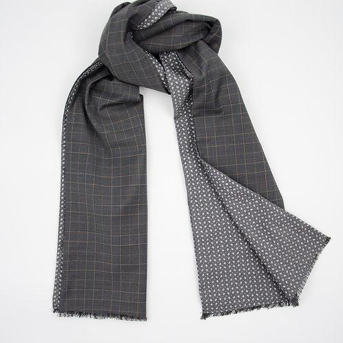 Wolle Schal für Herren Anzug ca.27x200cm.Check+Paisley.Dunkel Grau