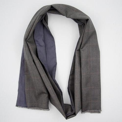 Wolle Schal für Herren Anzug ca.27x200cm.Herringbone.Grau+Blau
