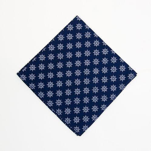 Einstecktuch Blau Maritimes Muster. Ca. 28 x28cm.