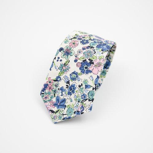 Krawatten für Herren aus Baumwolle.Handgefertigte.Blumen.Blau+Grün