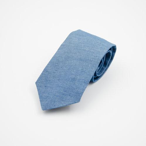 Necktie made of cotton cir. 6x145cm. Handmade in Berlin. Jean. Blue