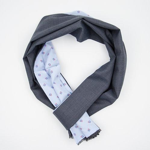 Wool scarf (reversible) for men suit or jacket.Handmade. Light Blue+Floral