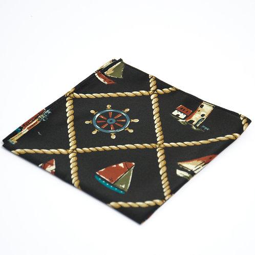 Pocket square made of cotton blend cir. 28x28cm. Handmade in Berlin. Sea life Print. Black