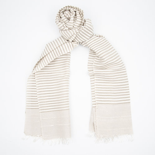 Silk scarf cir. 50x200cm. Handwoven loom and Handmade. Horizontal Stripe. Cream