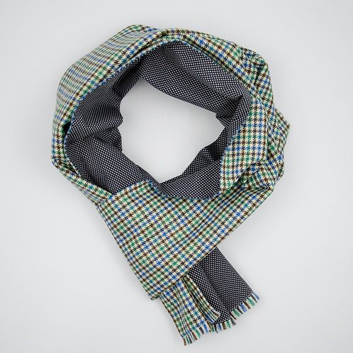 Reversible Scarf made of wool and cotton cir. 27x200cm. Handmade in Berlin. Vichy+Polka Dot. Green+Grey