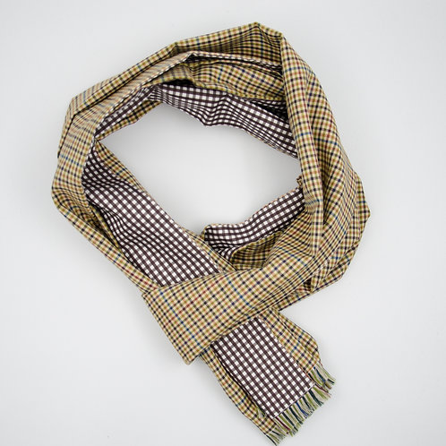 Reversible Scarf made of wool and cotton cir. 27x200cm. Handmade in Berlin. Check. Green+Brown