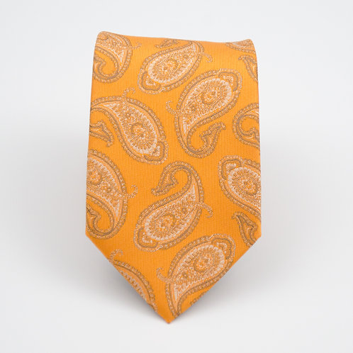 Men's necktie made of jacquard silk cir.6x145cm.Paisley. Gold