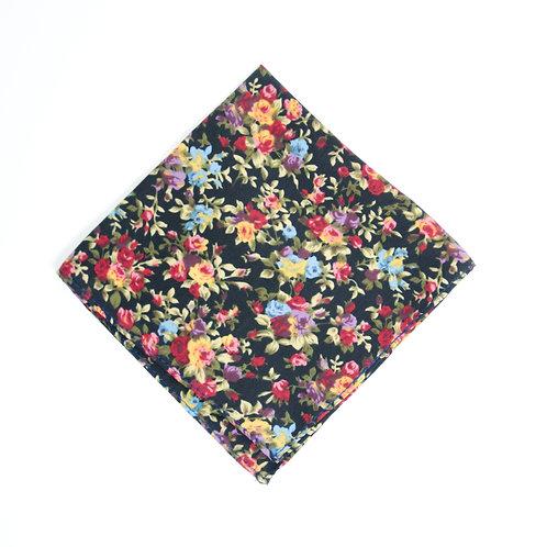 Pocket square cir. 28x28cm. Handmade in Berlin. Floral Print. Black
