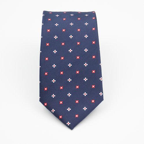 Men's necktie made of jacquard silk cir.6x145cm. Diamond dot. Dark Blue