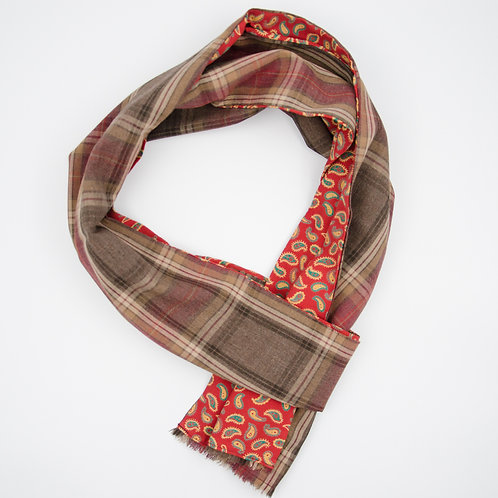 Linen scarf for men suit or jacket ca.27x200cm.Red. Plaid + paisley