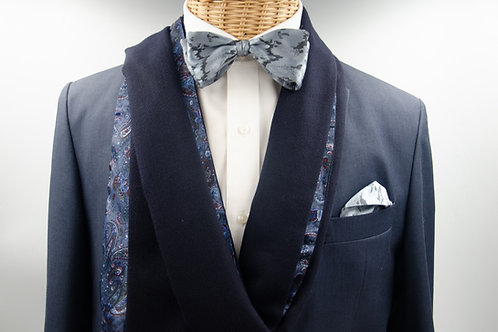 Men's scarf for a jacket / suit. Wool scarf for men. Dark Blue + Dark Paisley