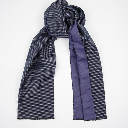 Wool scarf for men jacket or suit ca.27x200cm.Honeycomb.Dark blue