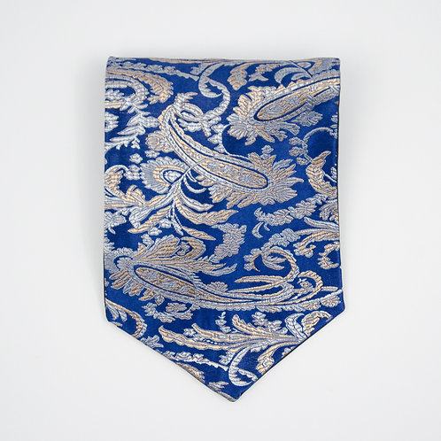Ascot Tie made of cotton blend cir. 15x100cm. Suitable for tuxedo or shirt. Paisley. Blue