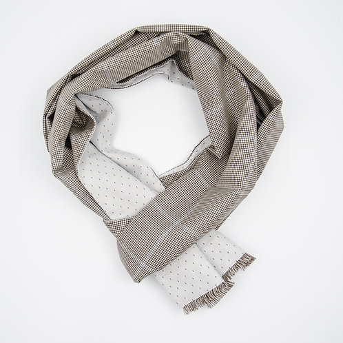 Reversible Scarf made of wool and cotton cir. 27x200cm. Handmade in Berlin. Vichy+Dot. Black+Grey