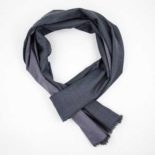 Wool scarf for men suit or jacket ca.27x200cm. Grey + blue