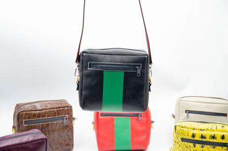 Small Crossbody/Shoulder Leather Bag. Handmade in Berlin. Fair and Local Designer Bag. Black