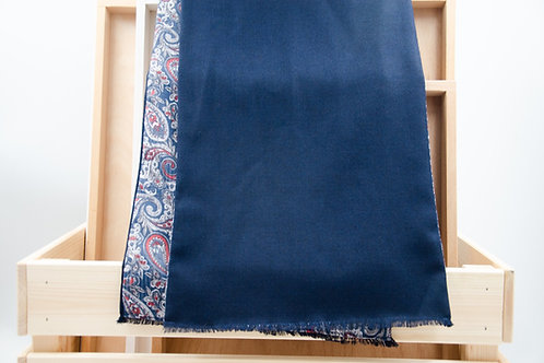 Men's scarf for a jacket / suit. Wool scarf for men. Blue + paisley