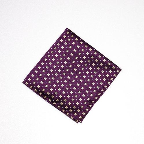 Pocket square made of jacquard silk cir.25x25cm. Dot. Dark Purple