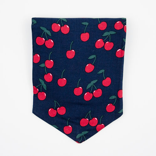 Ascot Tie made of cotton blend cir. 15x100cm. Suitable for tuxedo or shirt. Cherry Print. Dark Blue