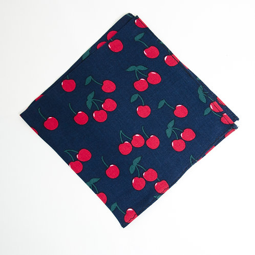 Pocket square made of cotton blend cir. 28x28cm. Handmade in Berlin. Cherry Print. Blue