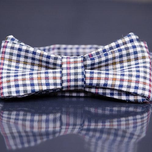 Dunkel blau karierte Schurwolle Fliege - Dark blue checked wool Bow Tie