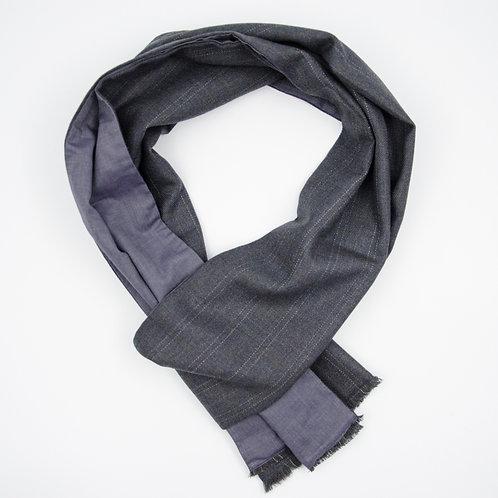 Wolle Schal für Herren Anzug oder Jacket ca.27x200cm. Streifen. Grau + Blau