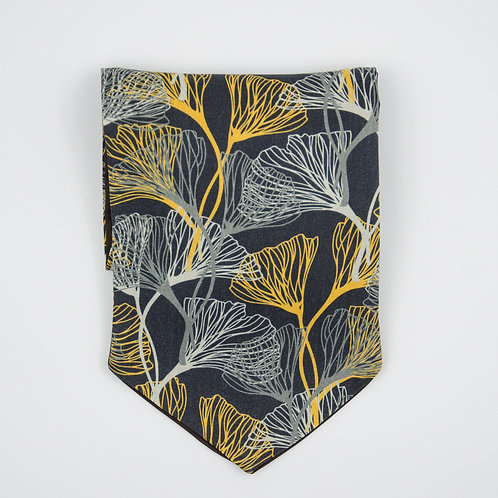 Ascot Tie made of cotton blend cir. 15x100cm. Suitable for tuxedo or shirt. Leaves Print. Grey + Gold