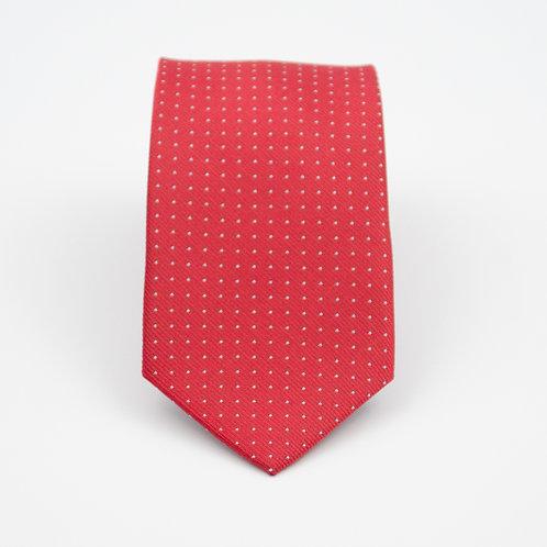 Necktie made of jacquard silk cir.6x145cm. Handmade. White dot. Red