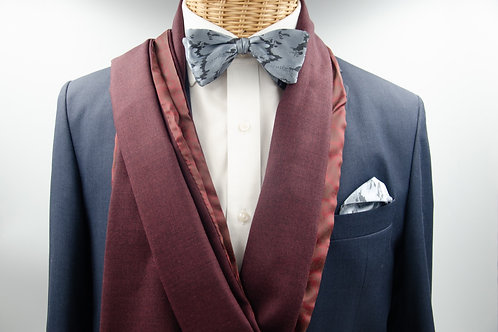 Men's scarf for a jacket / suit. Wool scarf for men. Wine red + red Pailey