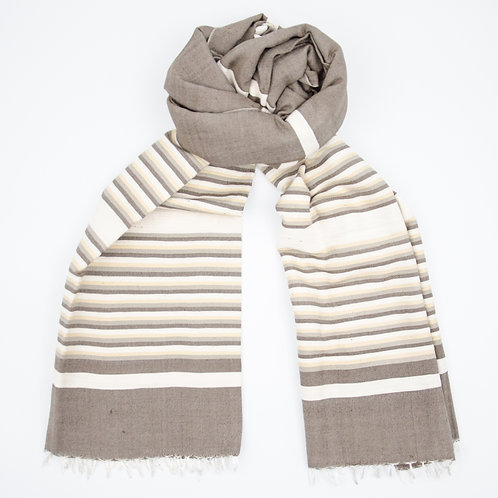 Silk scarf for men approx. 70x200cm. Brown + grey stripes. Handmade and handwoven