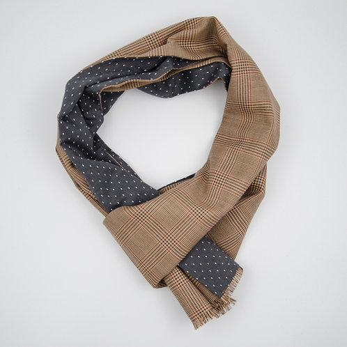 Reversible Scarf made of wool and cotton cir. 27x200cm. Handmade in Berlin. Glencchek + Dot. Brown+Grey