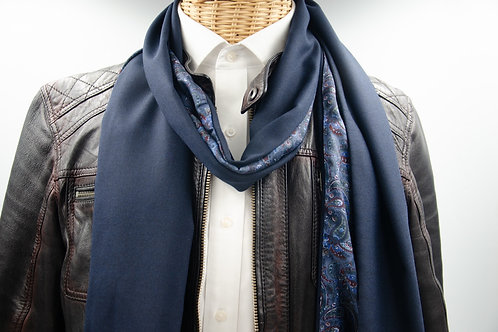 Men's scarf for a jacket / suit. Wool scarf for men. Blue + Dark Paisley