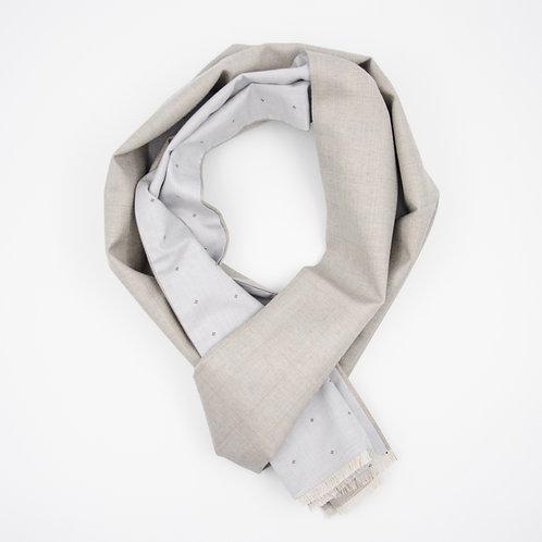 Reversible Scarf made of wool and cotton cir. 27x200cm. Handmade in Berlin. Herringbone+Dot. Grey