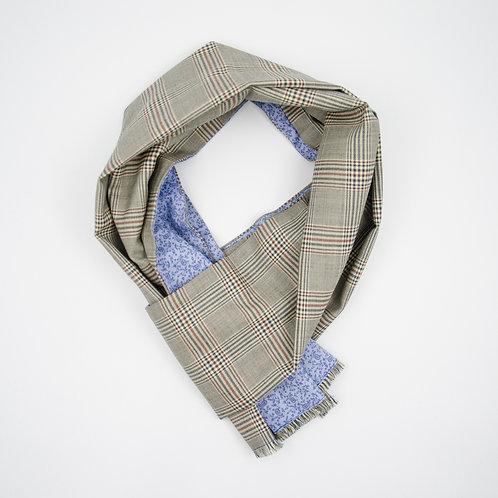 Wolle Schal für Herren Anzug oder Jackett.Handarbeit. Beige + Glencheck