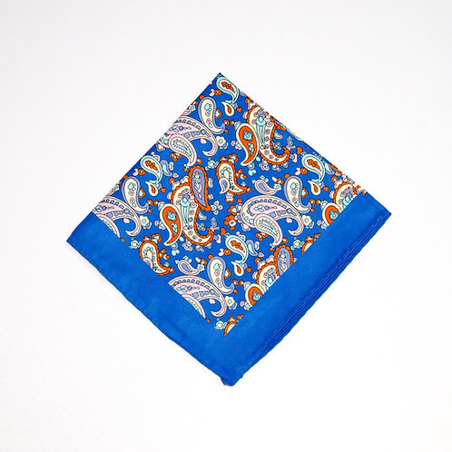 Pocket Square made of silk cir.34x34cm. Paisley. Blue