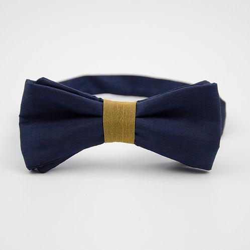 Silk bowtie for men suit/shirt. Pre-tied. Approx. 6x12cm.Blue+gold