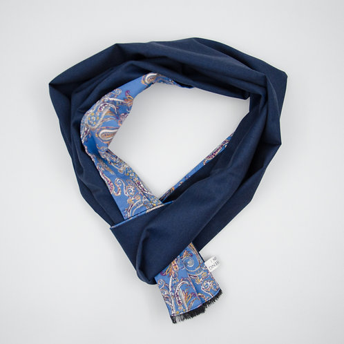Wool scarf (reversible) for men suit or jacket cir.27x200cm.Handmade. Dark Blue + Paisley