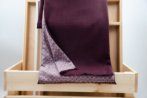 Men's scarf for a jacket / suit. Wool scarf for men. Wine red + dots