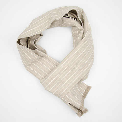 Linen scarf cir. 20x200cm. Double side. Suitable for mild weather and sommer. Beige. Stripe