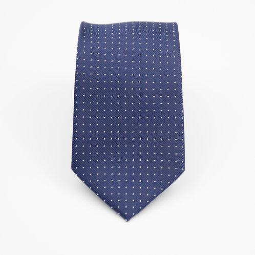 Necktie made of jacquard silk cir.6x145cm. White dot. Dark Blue