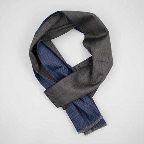 Wool scarf (reversible) for men suit or jacket.Handmade. Grey. Herringbone