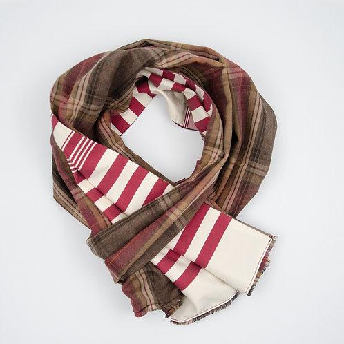 Leinen Schal für Herren Anzug oder Jacket ca.27x160cm.Rot. Plaid + Streifen
