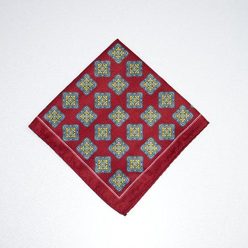 Einstecktuch aus Seide. Diamant Motiv.Rot. Ca. 34 x34cm
