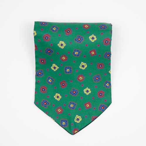 Ascot Tie made of cotton blend cir. 15x100cm. Suitable for tuxedo or shirt. Floral Print. Green